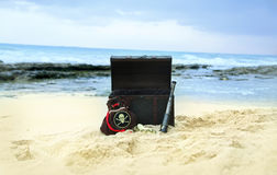 Digital Photography Background Of Pirate Chest Prop On Hawaii Beach Backdrop Royalty Free Stock Photography