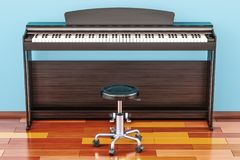 Digital piano with chair in room on the wooden floor, 3D renderi. Digital piano with chair in room on the wooden floor Royalty Free Stock Photos