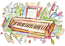Digital Piano Sketch Stock Photo