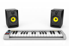 Digital Piano Synthesizer with Audio Speakers Royalty Free Stock Images