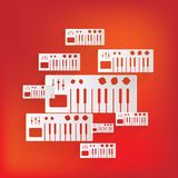 Digital piano synthesizer icon Stock Images