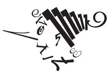 Typographic composition. Head of pinnochio in black on the white background Stock Image