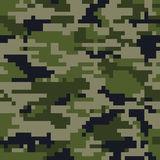 Digital pixel camouflage. Seamless pattern. Vector Texture in green colour Royalty Free Stock Photo