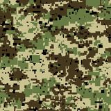 Digital pixel camouflage seamless pattern for your design. Vector Texture Royalty Free Stock Photo