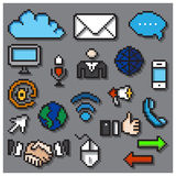 Digital Pixel Communication Icons Set Stock Photography