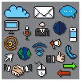 Digital Pixel Communication Icons Set Stock Photography