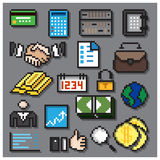 Digital Pixel Financial Icons Set. Design Stock Photography