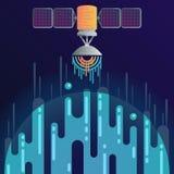 Digital planet and radar dish sound or radio wave Stock Photo