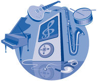 Digital player and musical instruments Stock Photos