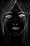 Digital portrait of a young woman on black background. Hand drawn portrait of a beautiful young woman, with freckles, in white pencil on black background vector illustration