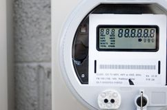 Digital Power Meter. A newly installed digital power meter on a commercial building Royalty Free Stock Photos