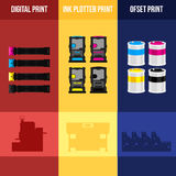 Digital print. Printing equipment. Color printer. Cyan, magenta, yellow, black pant. Color Ink and cartridge. Copy and scan. Laser, ink, offset machine.  Vector Royalty Free Stock Photos