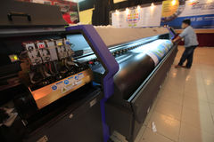 Digital printing. Machine on display at an exhibition in the city of Solo, Central Java, Indonesia royalty free stock images