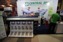 Digital printing. Machine on display at an exhibition in the city of Solo, Central Java, Indonesia royalty free stock image