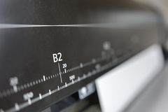 Digital printing press. Large plotter ruller showing B2 paper format stock photos