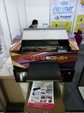 Digital printing. Technicians showing the digital printing at the exhibition in the city of Solo, Central Java, Indonesia royalty free stock photos