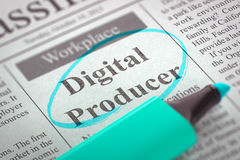 Digital Producer Wanted. 3D. Digital Producer - Advertisements and Classifieds Ads for Vacancy in Newspaper, Circled with a Azure Highlighter. Blurred Image Royalty Free Stock Photos