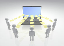 Digital Project Collaboration. Team of workers sharing information around a Laptop. 3D rendered Royalty Free Stock Photo