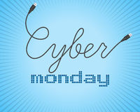 Digital promo text on a blue background for Cyber Monday. Sale, discount theme. Vector illustration Stock Photography