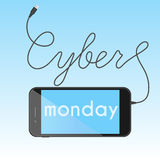 Digital promo text with smartphone for Cyber Monday. Sale, discount theme. Vector illustration Stock Images