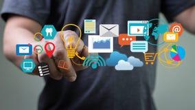 DIGITAL que INTRODUZ NO MERCADO o projeto startup novo, canais interativos, foto de stock