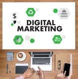 DIGITAL que INTRODUZ NO MERCADO o projeto startup novo, março digital interativo Imagem de Stock