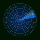 Digital radar med syftena på bildskärm På svart bakgrund också vektor för coreldrawillustration Arkivfoto