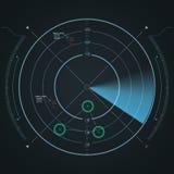 Digital-Radarschirm Futuristisches HUD mit datailed Platten Lizenzfreie Stockbilder
