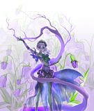 Colorful digital illustration of an elegant elf girl perfoming forest nature magic Royalty Free Stock Images