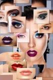digital röd twirl för abstactkonst djupt Uppsättning av kvinnors framsidor med färgrik makeup Arkivbilder
