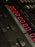 Digital Readout. View over mixing desk in recording studio Stock Photo