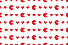 Digital red hearts seamless pattern Royalty Free Stock Images