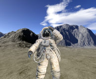 Digital render of landscape with astronaut Stock Images