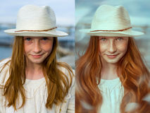 Digital retouch. before and after Royalty Free Stock Image