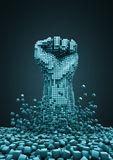 Digital revolution. 3D render of pixelated fist raised in protest Royalty Free Stock Photo