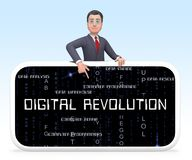 Digital Revolution Concept Futuristic Industry 3d Illustration. Shows Innovation Improvement And Transition Of Network Data stock illustration