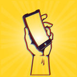 Digital revolution: hand holding curve smartphone. Bold and cool conceptual illustration of a next generation flexible smart phone with curved display, design of vector illustration