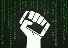 Digital revolution smartphone hacker symbol. Digital revolution hand holding smartphone symbol matrix hacker style vector illustration