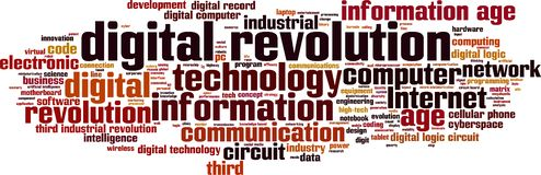 Digital revolution word cloud. Concept. Vector illustration royalty free illustration