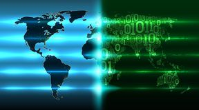 Digital revolution on world map. Map Earth with continents from a binary code with a background of abstract printed circuit boards. World map with evolving royalty free illustration