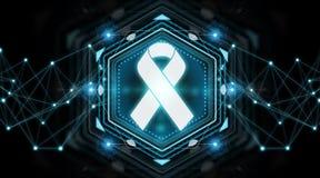 Digital ribbon cancer interface 3D rendering. Digital ribbon cancer interface  on black background 3D rendering Royalty Free Stock Photos