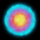 Digital Round multicolored background. Digital Round multicolored background with dots, rings, circles, swirls. In the dark Stock Image