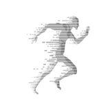 Digital Run. Binary man running, concept of technology era Stock Photos