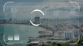 Digital säkerhetssurr, kamera eller lås för hologramscanningteknologi på sjösidastad i affärs- och militärobservationsbegrepp lager videofilmer