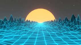 Digital 80s abstract 3D animation background