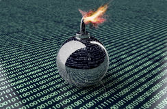 Digital safety concept computer bomb in electronic environment, Royalty Free Stock Image