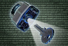 Digital safety concept padlock in electronic environment Stock Photos