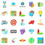 Digital sales icons set, cartoon style. Digital sales icons set. Cartoon set of 25 digital sales vector icons for web isolated on white background Stock Image