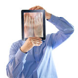 Digital salesman. He buried his face in his hands. Digital generation Stock Photography