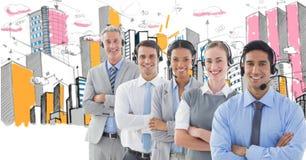 Digital sammansatt bild av affärsfolk som använder hörlurar med byggnader i bakgrund royaltyfria foton